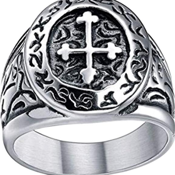Stainless Steel Vintage Celtic Cross Medieval Ring